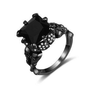 NWOT Cushion Cut Black Sapphire Skull Ring Size 10